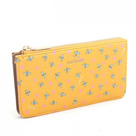 Wallet and purse Naj-Oleari with with bees on a yellow background, Baglicious